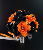 20cm Round bouquet-Perfect Fall weddings:Orange,Black,Silver