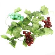2x Artificial Grape Vine Garland Fruit for Valentine Home Garden Decoration--Perfect for Wedding Decor, Party Decor, Pillars, Hanging Roof Decor, etc