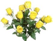 43cm Elegant Raindrop Rose Bush Silk Flowers Wedding Bouquet - Yellow 989