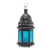 Moroccan Lantern Blue Glass Candle Holder Candleholder