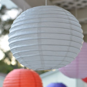 30cm Asian Style Round Paper Lanterns - White