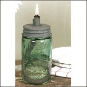 Mason Jar Oil Lamp Lid Barn Roof Finish