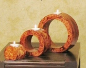 Shopping The Globe Ringed Candle Holders, Set of Three - Oak