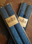 20cm Natural Beeswax Glitter Candles, Sapphire Colour, Boxed Set of 2