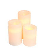 Everlasting Glow LED Wax Pillar Candle, Timer, Bisque, Vanilla Scent, Set of 3, Assorted Sizes