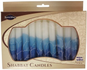 Fancy Jewish Shabbat Candles - Galilee Waters Blue and White
