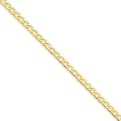 14k Yellow Gold 7in 4.3mm Lightweight Curb Link Chain Bracelet. Metal Wt- 2.6g