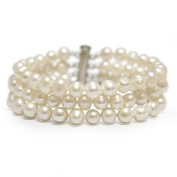 """3-Row White A Grade 6.5-7mm Freshwater Cultured Pearl Bracelet,8"""""""