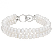 Birthday Gift - White Button Freshwater Pearl Strand Bracelet Sterling Silver Clasp