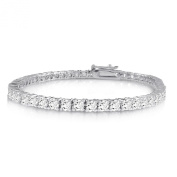 Sterling Silver Brilliant Round Cut 4mm White Cubic Zirconia Eternity Tennis Bracelet