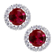 2.00 Ct Round 6mm Red Created Ruby 925 Silver Removable Jacket Stud Earrings