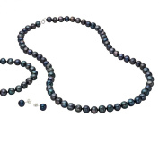 Sterling Silver Freshwater Black Pearl Necklace, Bracelet and Earring Set 5-6mm