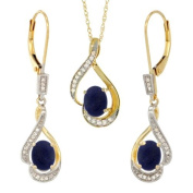 14K Yellow Gold Natural Lapis Lever Back Earrings & Pendant Set Diamond Accent