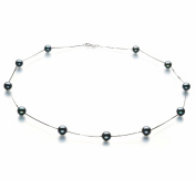 PearlsOnly Tin Cup Black 6.5-7.0mm AA Japanese Akoya Pearl Necklace with 14k White Gold Chain