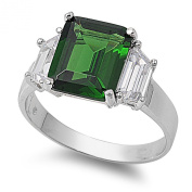 Sterling Silver Three Stone Princess Cut Emerald & Baguette Cubic Zirconia CZ Ring