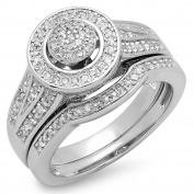0.50 Carat (ctw) Sterling Silver Round Diamond Ladies Split Shank Bridal Engagement Ring Band Set 1/2 CT