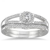 1/3 Carat Diamond Split Shank Bridal Set in 10K White Gold