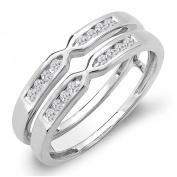 0.25 Carat (ctw) 14k Gold Round Diamond Ladies Anniversary Wedding Band Enhancer Guard Double Ring 1/4 CT