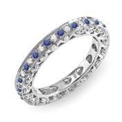 1.00 Carat (ctw) 14k White Gold Round White Diamond & Blue Sapphire Ladies Eternity Anniversary Wedding Band Stackable Ring 1 CT