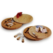 Natural Living Bamboo Swivel Cheese Board and Knife Set