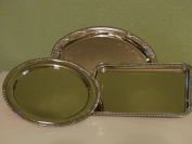 Nickel-plated Metal Serving Tray Set of 3 with Decorative Edges