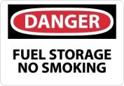 "NMC D279PB OSHA Sign, Legend ""DANGER - FUEL STORAGE NO SMOKING"", 36cm Length x 25cm Height, Pressure Sensitive Vinyl, Black/Red on White"