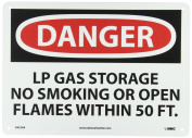 """NMC D452AB OSHA Sign, Legend """"DANGER - LP GAS STORAGE NO SMOKING OR OPEN FLAMES WITHIN 15m"""", 36cm Length x 25cm Height, Aluminium, Black/Red on White"""