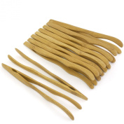 18cm Reusable Bamboo Tongs, Curved Arms, Carbonised Brown - by BambooMN - 3 Pieces - Toast Tongs