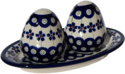 Polish Pottery Salt and Pepper Shakers From Zaklady Ceramiczne Boleslawiec #961-166a Floral Peacock Pattern