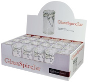 Grant Howard 50520 90ml Cylindrical Clear Glass Spice Jar, Set of 24, Small