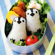 Yunko Rice Mould Onigiri Shaper and Dry Roasted Seaweed Cutter Set, Baby Penguin