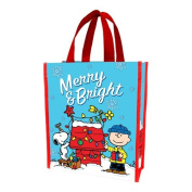 Vandor 85373 Peanuts Merry and Bright Christmas Recycled Shopper Tote, Small, Multicolor