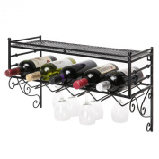 Wall Mounting Classical French Style Wine Bottle and Wine Glass Storage Organiser Rack with Top Shelf by MyGift