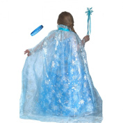 """Frozen Inspired Shimmering Elsa Snowflake Cape with Wand & """"Let It Go"""" Band"""