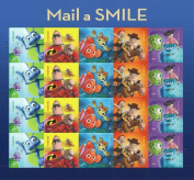 Mail a Smile-A Bug's Life, Toy Story 2, Monsters, Inc. Finding Nemo, The Incredibles. Sheet pane of 20 (Forever) US stamps
