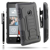 RANZ® Nokia Lumia 520 (AT & T) Black Rugged Impact Armour Hybrid Kickstand Cover with Belt Clip Holster Case + Touch Stylus