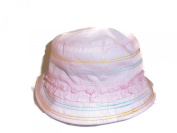 Baby Girl Cotton cloche Colourful stitching and frill.Colour Dusty Pink