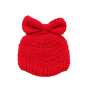 JTC Baby Boys Girls Knit Beanie Infant Photography Prop Bowknot Unisex Hat Caps Red