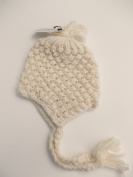 BNWT babiy girls winter hand knitted bobble hat in beige or pink