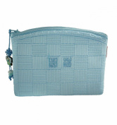 Make-up pouche blue or pink made of ramie fabric, light and resistant, design bag for cosmetics.