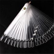 1 x 50x Clear False Nail Art Tips Sticks Polish Display Fan For Practise Salon, Can Add/Remove As Required