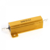 50W 25 Ohm 5% Chassis Mounted Audio Aluminium Clad Resistors Gold Tone