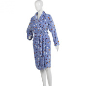 Ladies Heart Pattern Dressing Gown Soft Polyester Coral Fleece Bath Robe S-XL