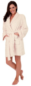 Ladies Soft Coral Fleece Dressing Gown with Embossed Leopard Print