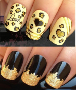 NAIL ART SET #4. A SHEET OF WATER NAIL TRANSFERS & A LARGE GOLD LEAF SHEET FOR CUSTOM DESIGNED NAIL! GOLD & BLACK GLITTER LEOPARD PRINT/HEARTS WATER WRAP/STICKERS/DECALS & STUNNING 24KT GLIZZY GOLD LEAF FOR FULL HOLLYWOOD NAILS! ALL CAN BE USED WITH NA ..