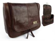 Rowallan Mens Vintage Leather Hanging Wash Bag Travel Toiletries Cognac Colour