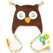 KF Baby Animal Beanie Hat, with Ear Flaps and Braids, Owl, Brown + FREE Gift of 4 Pinback Buttons
