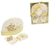Cute Button Corner Embroidered New Baby Hat & Mittens Set in Gift Box