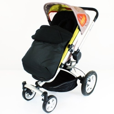Baby Travel Footmuff and Head Hugger Universal Fit (Black)