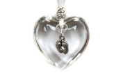 Handmade Hanging Glass Heart Decoration for New Born Baby, Shower or Christening Gift